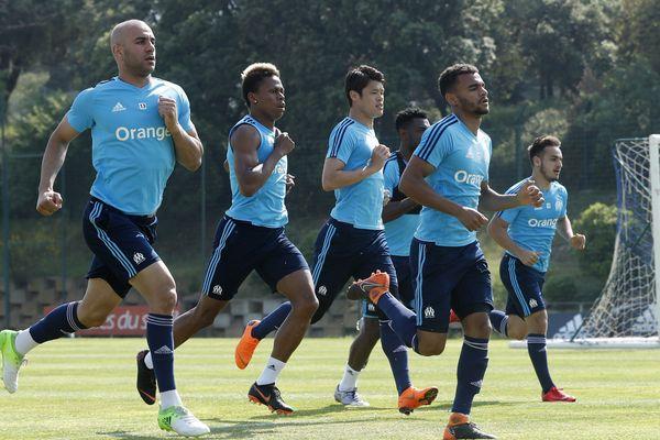 Les joueurs de l'OM à l'entraînement aujourd'hui au centre Robert Louis Dreyfus à Marseille.