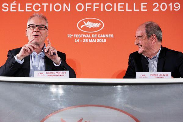 A gauche, Thierry Fremaux, directeur du Festival de Canne et Pierre Lescure, président du Festival