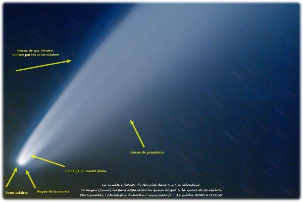 Sur cette photo, l'astronome amateur a légendé les différentes parties qui composent la comète.