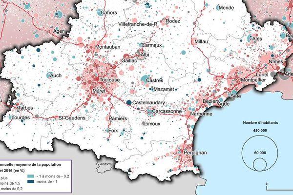 Avec 5 808 435 habitants, la région Occitanie, démographiquement très dynamique grâce à Toulouse et Montpellier, demeure la 5è région française .