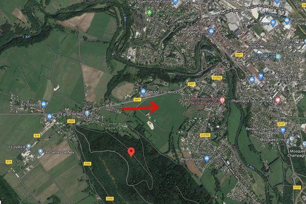 La fresque de Raymond Poulidor sera réalisée dans ce champ, peu avant l'entrée à Champagnole, Jura.