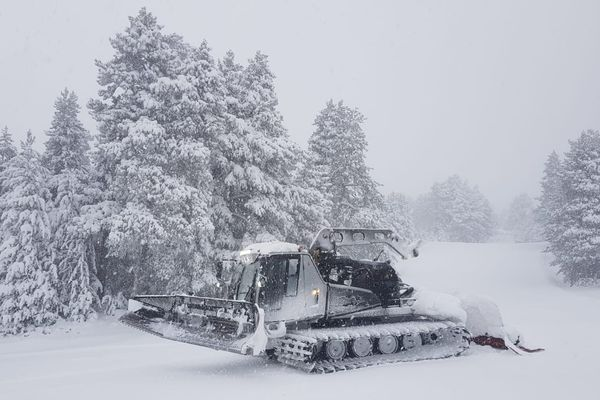 Au Cambre d'Aze, la neige ne s'arrête pas de tomber depuis la nuit de lundi à mardi, conséquence de la tempête Gloria