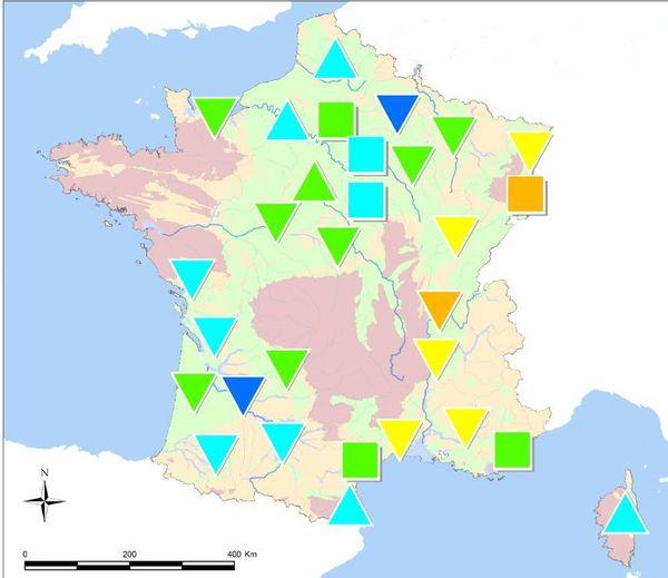En jaune sur la carte, la Bourgogne-Franche-Comté est une région où le niveau des nappes phréatiques est dans la moyenne basse.