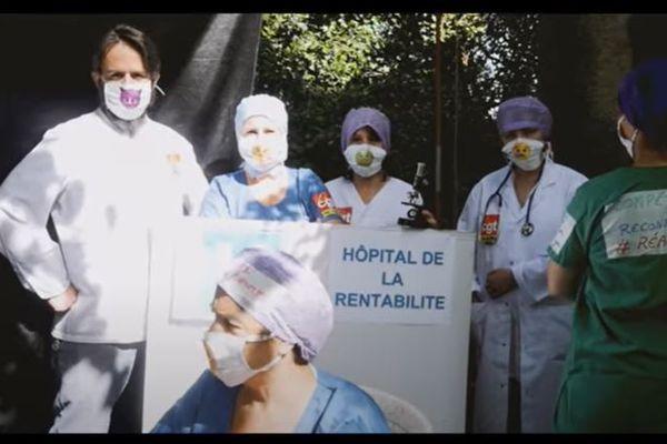 Extrait du clip de la CGT de Nîmes. Le syndicat a écrit une chanson et tourné un clip pour dénoncer la gestion des hôpitaux publics et la souffrance du personnel hospitalier dans son ensemble, soignants ou non - 27 septembre 2021.