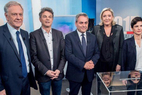 Les 5 principaux candidats en Nord Pas-de-Calais Picardie ( Pierre de Saintignon, Fabien Roussel, Xavier Bertrand, Marine Le Pen et Sandrine Rousseau)
