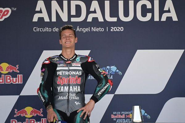 Le Niçois Fabio Quartararo sur la 1ère marche du podium lors du Grand Prix d'Andalousie, le samedi 26 juillet