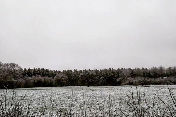De la neige à Cousrol, dans l'Avesnois.