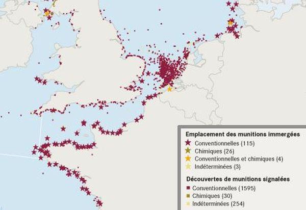 Emplacement des munitions immergées et des découvertes de munitions signalées entre 1999 et 2008.