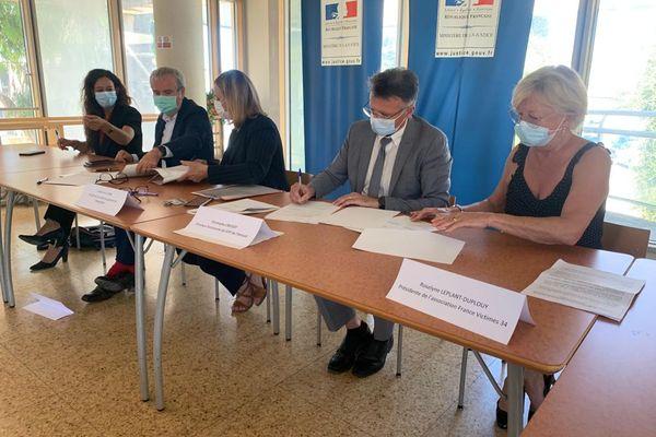 Tribunal judiciaire de Montpellier, lors de la signature du protocole sur le suivi en détention des conjoints violents - 5 juillet 2021