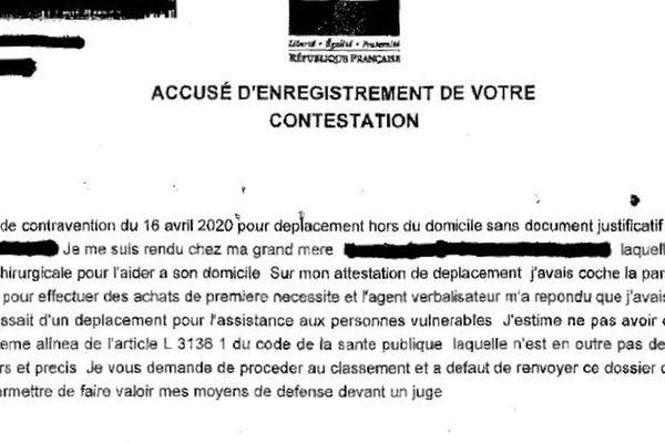 Un exemple de contestation d'amende adressée à l'officier du ministère public
