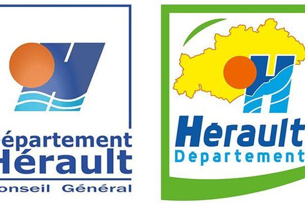 L'ancien et le nouveau logo du département de l'Hérault. Juillet 2015