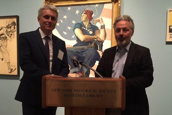 Joël Bruneau, le maire de Caen, et Stéphane Grimaldi, le directeur du Mémorial, étaient à New-York, hier, pour une conférence de presse.