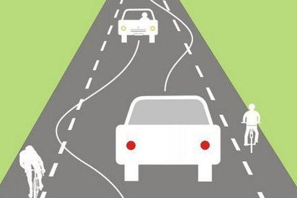 Exemple de partage de la route: le Chaucidou (contraction de Chaussée pour les Circulations Douces).