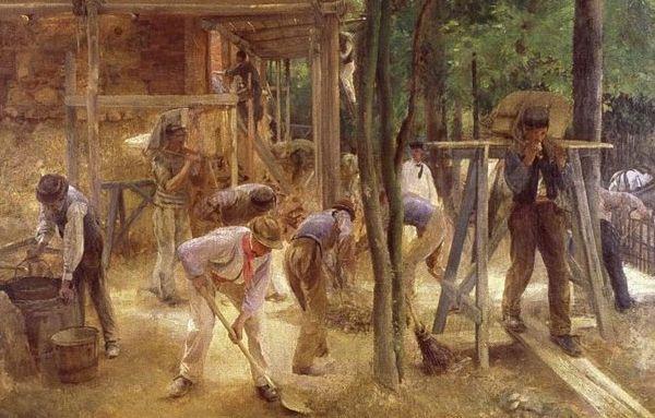 Extrait de Ouvriers maçons Limousins par Edouard Dantan/ Collection particulière