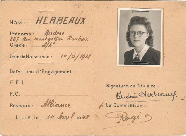 Carte d'identité de combattante de la France Libre d'Andrée Herbeaux.