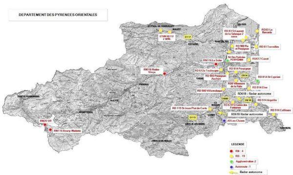 La liste des 28 radars fixe et mobiles des Pyrénées-Orientales