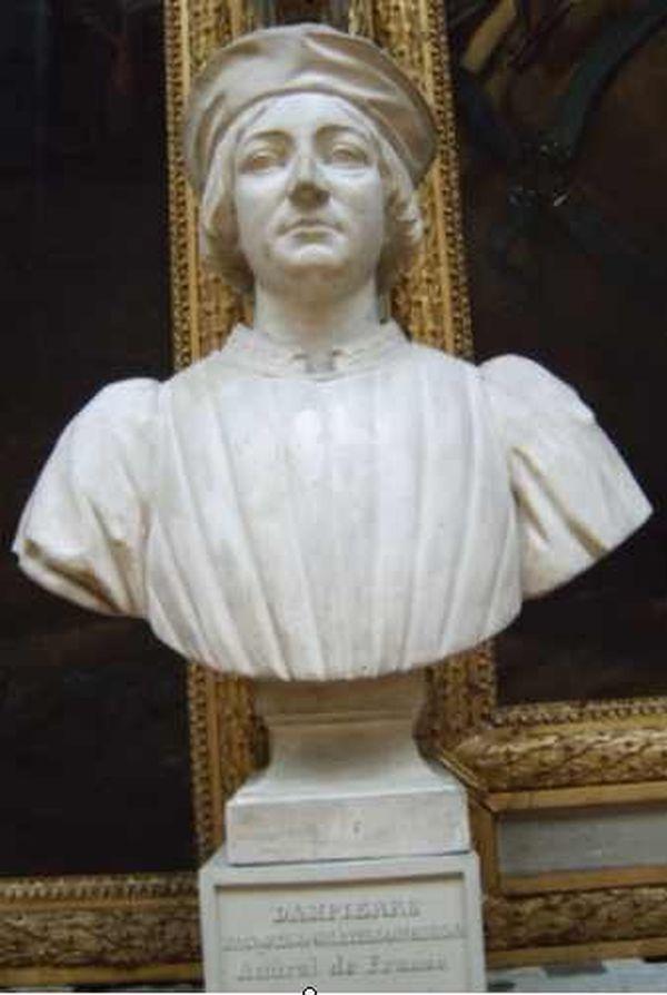 Buste de l'amiral Jacques de Châtillon dans la Galerie des Batailles du Château de Versailles.