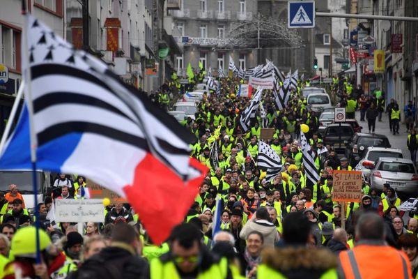 La manifestation régionale des Gilets jaunes à Saint-Brieuc (Côtes d'Armor) - 12/01/2019