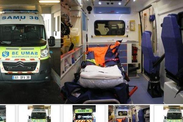 L'ambulance mise en vente par le Centre Hospitalier de Bourgoin Jallieu.