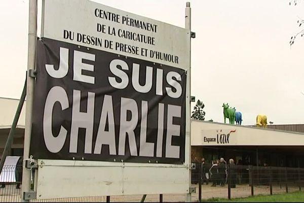 Le centre de la caricature de Saint-Just-le-Martel après l'attentat de 2015 contre Charlie Hebdo