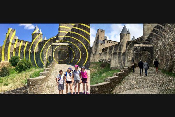 La Cité de Carcassonne avec l'oeuvre de Felice Varini en 2018 à gauche et sans l'oeuvre en 2021 à droite.