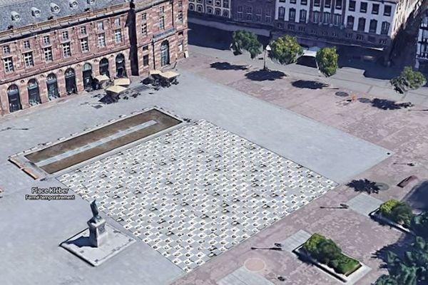 Projet de mosaïque monumentale : 450 portraits de citoyens masqués, collés au sol place Kléber, à Strasbourg