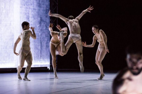 """Les 17 danseurs du Dresden Frankfurt Dance Company ouvrent le festival Montpellier Danse le 22 juin 2018 avec """"Extinction of a Minor Species"""" de Jacopo Godani première représentation en France."""