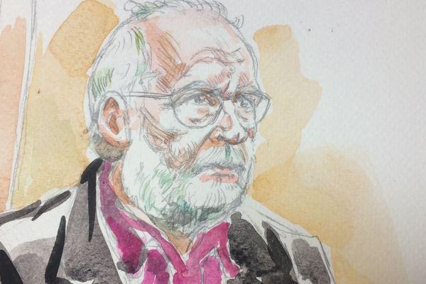 Dessin de presse de Bernard Preynat réalisé lors de son procès devant le tribunal correctionnel de Lyon en janvier 2020.