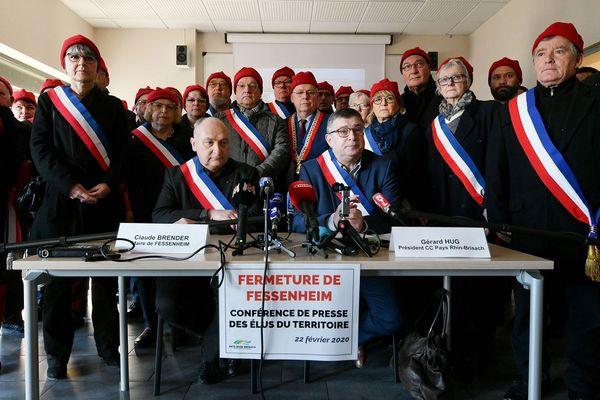 Le maire de Fessenheim Claude Breder et Gérard Hug, président de la communauté de communes du Pays Rhin-Brisach, lors d'une conférence de presse ce matin