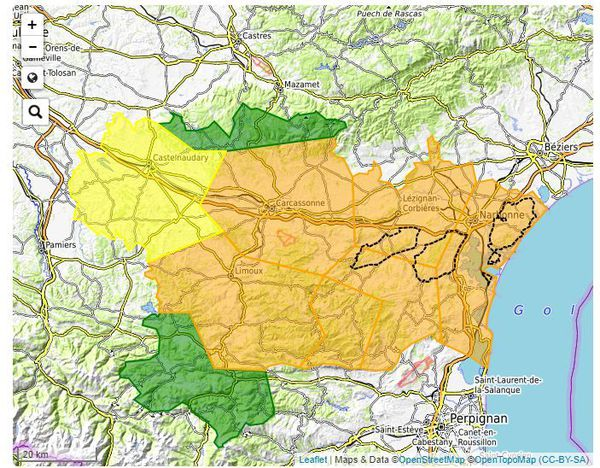 La carte de vigilance feux de forêt de l'Aude - 7 septembre 2020.