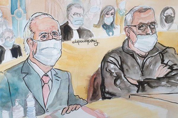Edouard Balladur et François Léotard font face à la Cour de justice de la République dans le cadre du volet financier de l'affaire Karachi, mardi 19 janvier 2021.