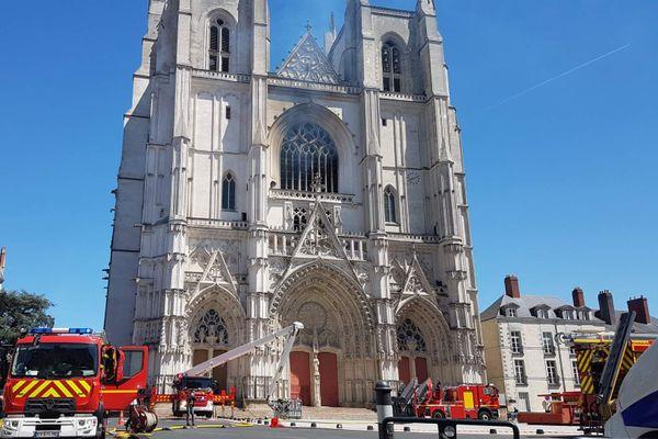 La cathédrale de Nantes après l'incendie qui a ravagé son grand orgue le 18 juillet 2020