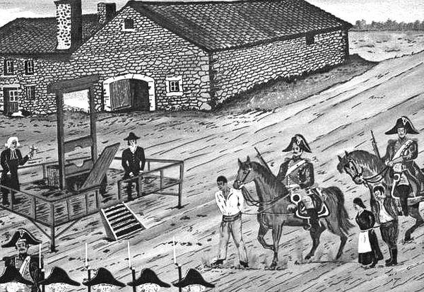 """Gravure d'époque illustrant la condamnation à mort des aubergistes de Peyrebeille et de leur domestique devant """"l'auberge sanglante""""."""