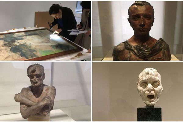 """Les quatre oeuvres de Camille Claudel : en bas à gauche, """"L'homme aux bras croisés"""", en haut à gauche, le pastel, en haut à droite, """"Le jeune romain"""" et en bas à droite, """"La tête de vieil aveugle chantant"""" / France 3 Champagne-Ardenne"""