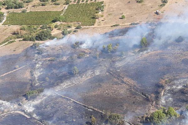 Quarante (Hérault) - un incendie a détruit 2 hectares de végétation - 24 septembre 2018.