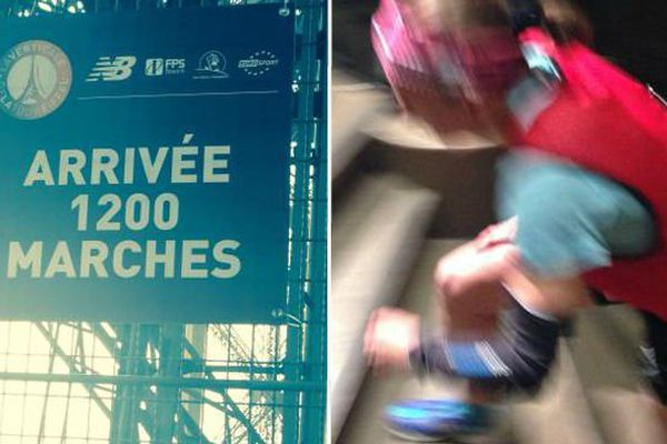 Une athlète durant la course La Verticale à la Tour Eiffel, à Paris.
