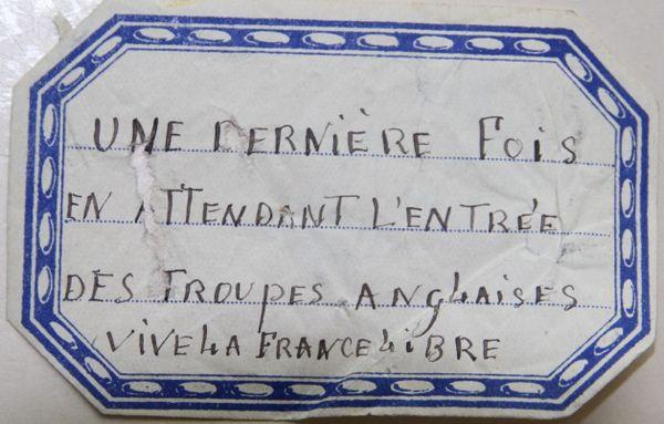Papillon collé le vendredi 30 août 1940 sur les murs du Ciné-Parc, à Nevers (Nièvre).