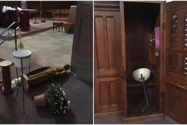 Autel retourné, éléments renversés... l'église Saint-Louis de la Robertsau a été saccagée.