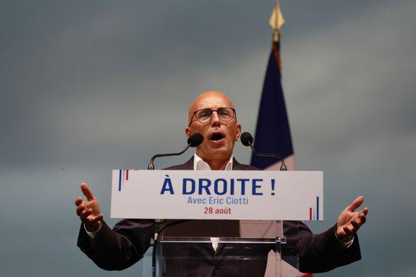"""Eric Ciotti a lancé depuis Levens """"un appel à tous ceux qui partagent avec (lui) ce combat pour défendre ensemble une France forte servie par une droite forte""""."""