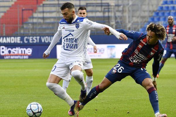 Florian Tardieu (Troyes) et Alexis Beka Beka (Caen) ce samedi 12 décembre au stade d'Ornano