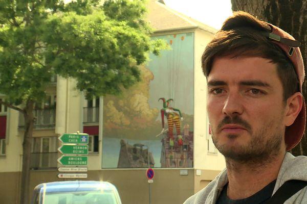 Nubian, artiste peintre de Montpellier a créé cette fresque de street art dans le cadre de Rouen Impressionnée 2020.