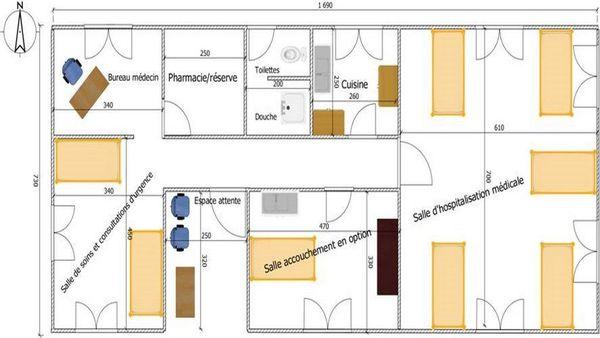 Le plan de la maison de santé de PUI à Antananarivo