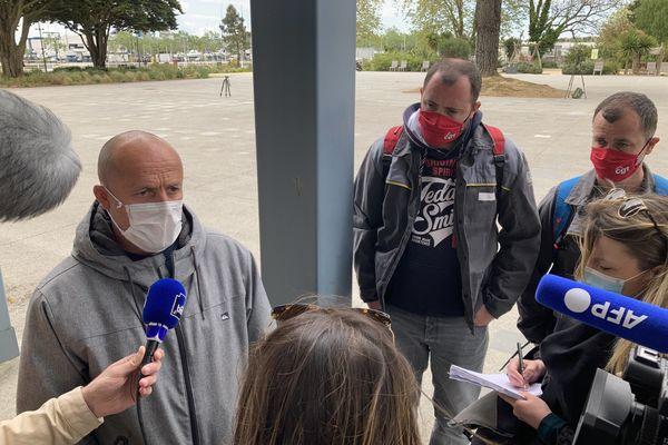 Maël Le Goff, délégué syndical CGT de la Fonderie de Bretagne après la réunion avec les responsables politiques ce mercredi 28 avril à Lorient Agglomération.