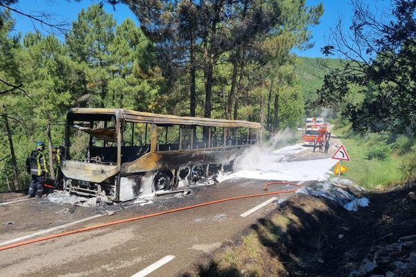 Impressionnante photo d'un car entièrement brûlé