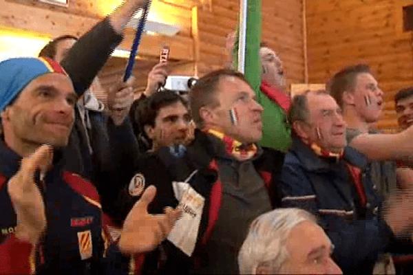Les supporters ont suivi la course sur un écran géant.Font-Romeu le 10 février 2014.