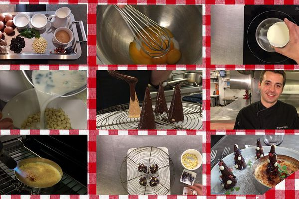 Les étapes de la crème brûlée à la coriandre et sapin de Noël