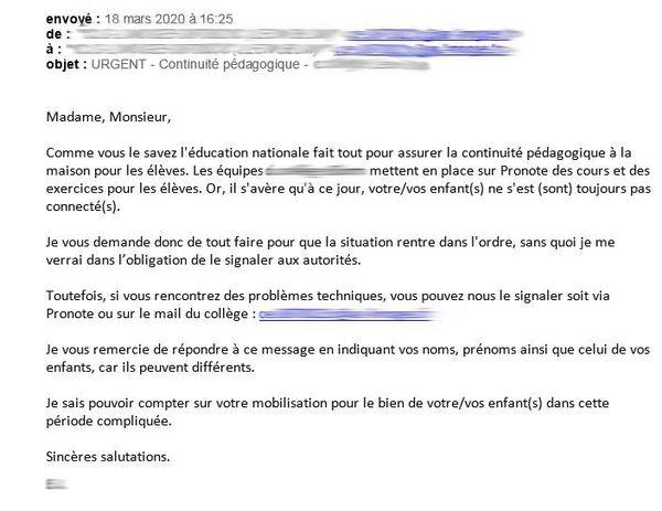 Capture écran du mail reçu par les parents d'un collégien de Limoges