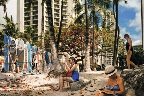 Plage de Wai Ki Ki, Honolulu. (170 x 170 cm)