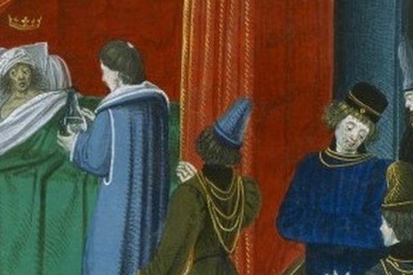 Charles VI alité, entouré de ses médecins.
