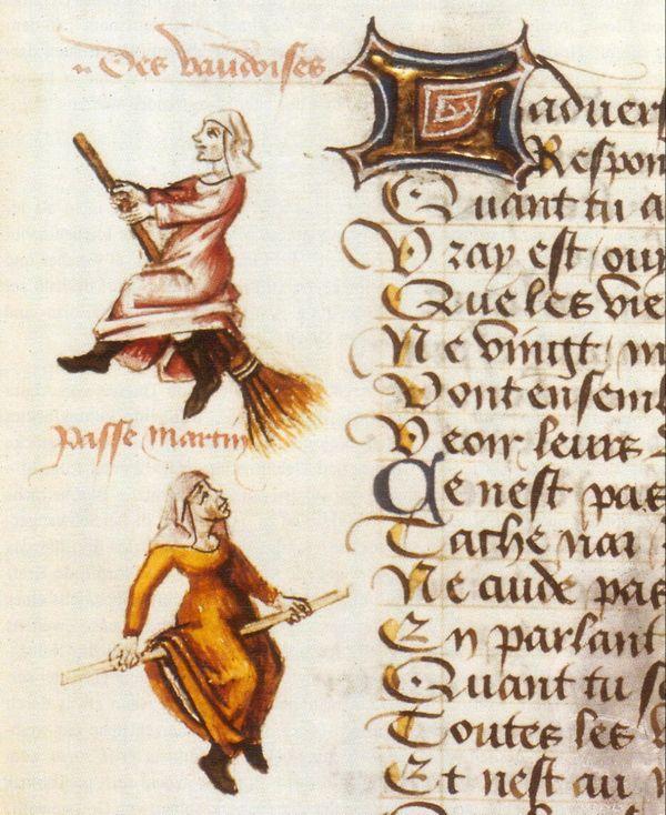 """Deux femmes chevauchant un balai, décrites au-dessus comme """"des Vaudoises""""."""